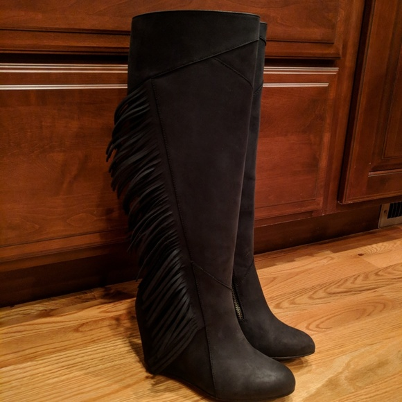 38c2121b1ab6 Koolaburra Shoes - Koolaburra Black Leather Fringe Tall Boots
